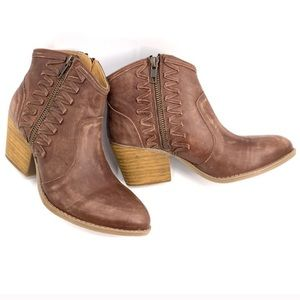 Buckle Coolway Leather Brown Ankle Boots Womens 7